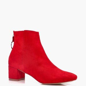 Boohoo Red O Ring Pull Chelsea Ankle Boots